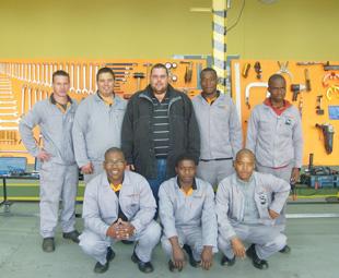 Front: Jabu Mkhize, Robert Makhubedu, Themba Lekgau. Back: Zander VIsser, Kallie van Staden, Mias van der Heever (Technical Trainer), Lucas Pilusa, Robert Mtata.