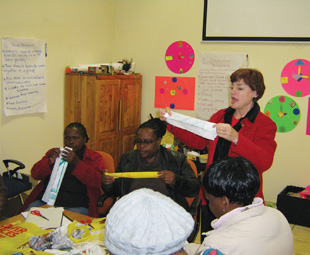 Recycled material is used by early childhood development (ECD) facilitators for teaching resources.