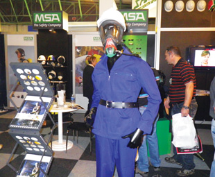 MSA head protection V-Gard 500 with respiratory products and full face mask connected to a mass trolley system.