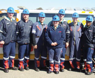 The members of the Netcare 911 Welkom branch during Select PPE's handover of the hardhat donation.