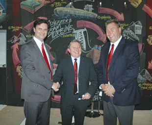 (From left) Business Connexion's Louis van Wyk, PE International's solution manager Johannes Gediga and Jaco Moolman, managing executive for Business Connexion's energy and industrial solutions.