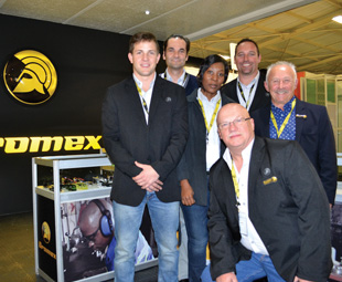 The Dromex team at Osh Expo, from left: Bruce Johnson, Romain Henricart (Taeki5 specialist), Lebo Ramalepa, Bruce Jennings, Stel Stylianou (CEO). In front, Stephen Mallett.