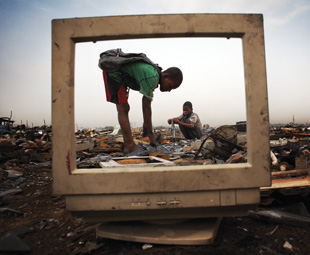E-waste is filled with various chemicals and heavy metals that pose a threat to the environment and people.