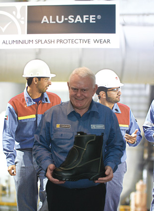 Andrew Charnaud, founder of AJ Charnaud & Company, with the remarkable Metal-Safe Charnaud hot metal boot, which was launched at the A+A.