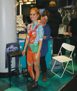 Exhibitors made every effort to attract visitors to their stands … even body painting was the order of the day!