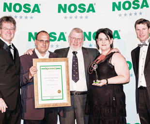 From left: Justin Hobday, NOSA's managing director; Christopher Morsner, HSE manager for DEKRA's Medupi operations; Brian Sayer-Hickson, DEKRA's group special operations manager; Carina Brink, the HSE manager for DEKRA's Secunda operations; and Duncan Carlisle, CEO of NOSA Global Holdings.