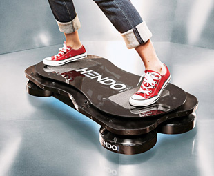 """RIGHT: The Hendo Hoverboard uses magnetic engines to levitate the board and """"rider"""" around."""