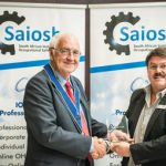 Robin Jones (left) is inducted into the Saiosh Wall of Fame by Saiosh CEO Neels Nortjé.