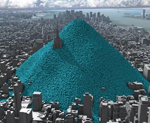 In 2010 New York City added 54 349 650 t of carbon dioxide to the atmosphere. That's equivalent to  148 903 t a day, 6 204 t an hour and 1,72 t a second. The blue balls show a single day of emissions.