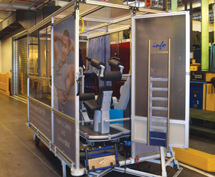 A mobile health and safty clinic at the plant.