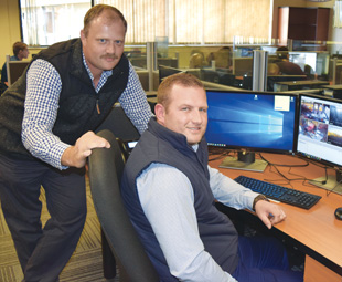 Willie Holtzhauzen (left) and Morne Klingbiel explain that the Altech Netstar Vigil Safety and Compliance system is an important tool in RTMS auditing.
